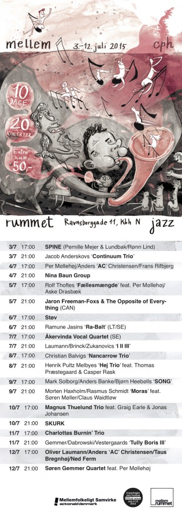 Flyer for the jazz festival at MellemRummet, 2015.