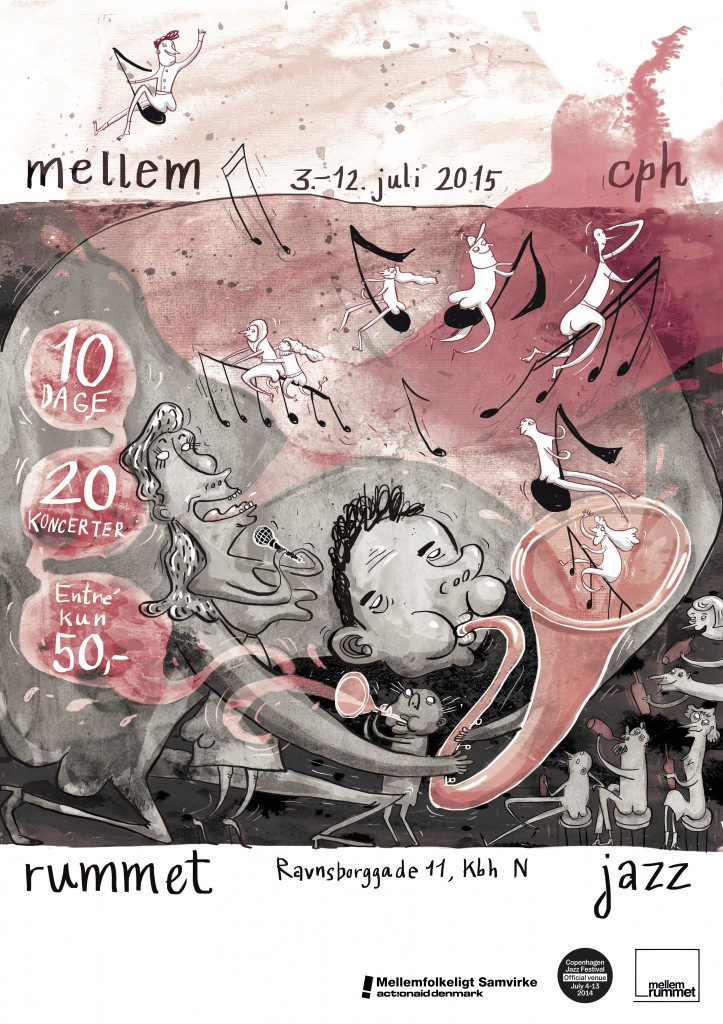 Mia Mottelson's Poster for the jazz festival at MellemRummet, 2015.